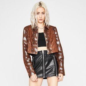 Brown Python Cropped Jacket